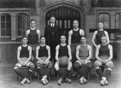 Lon Jourdet, seen here with the 1908 national champion Penn team,  coached the Quakers to both their 200th and 500th win.