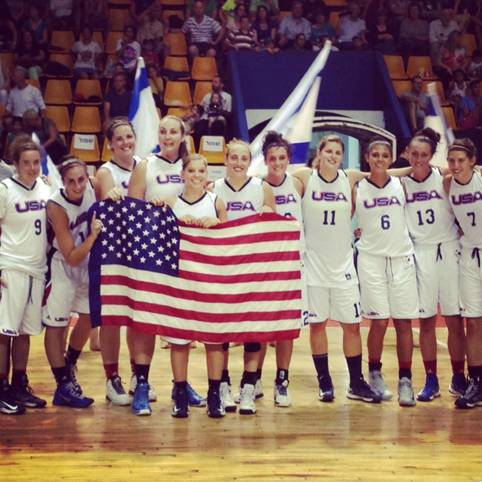 Alyssa Baron, fourth from right, led the USA women's basketball team to a gold medal at the Maccabiah Games earlier this month.